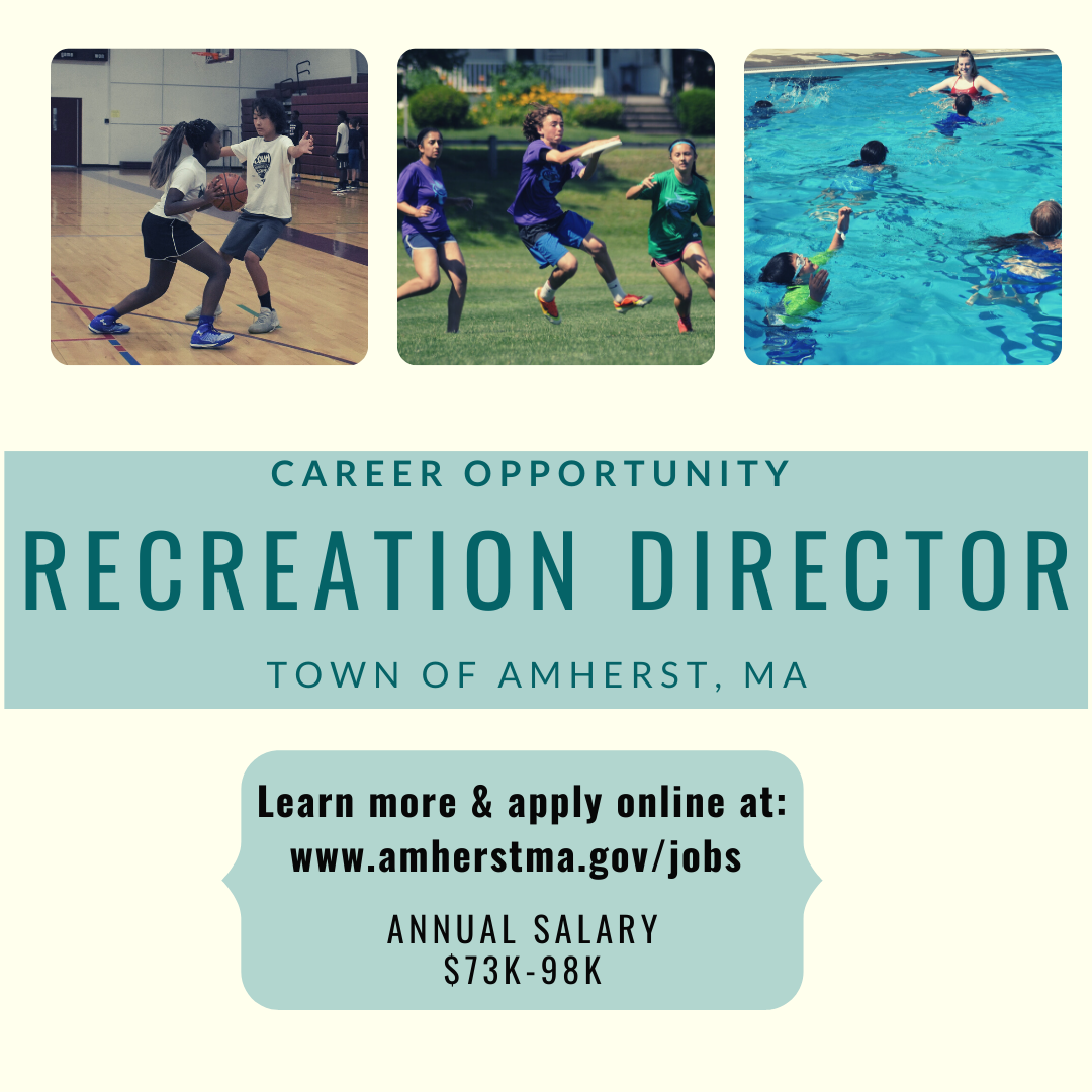 Text: Recreation Director career opportunity in Amherst, MA with images of children playing sports